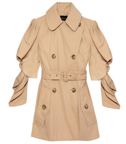 sand twill short trench coat