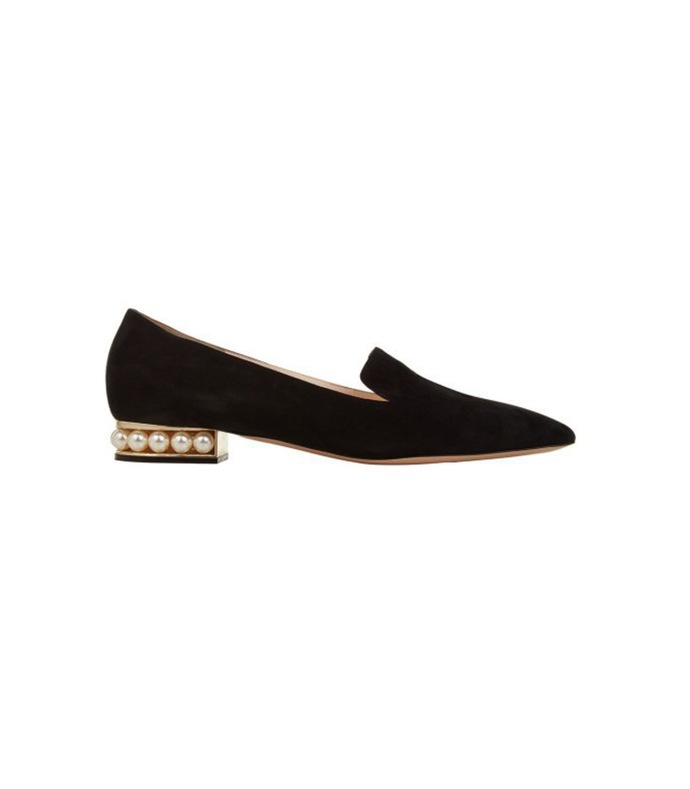 black suede casati pearl loafer