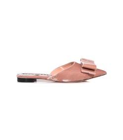 pink velvet bow mule