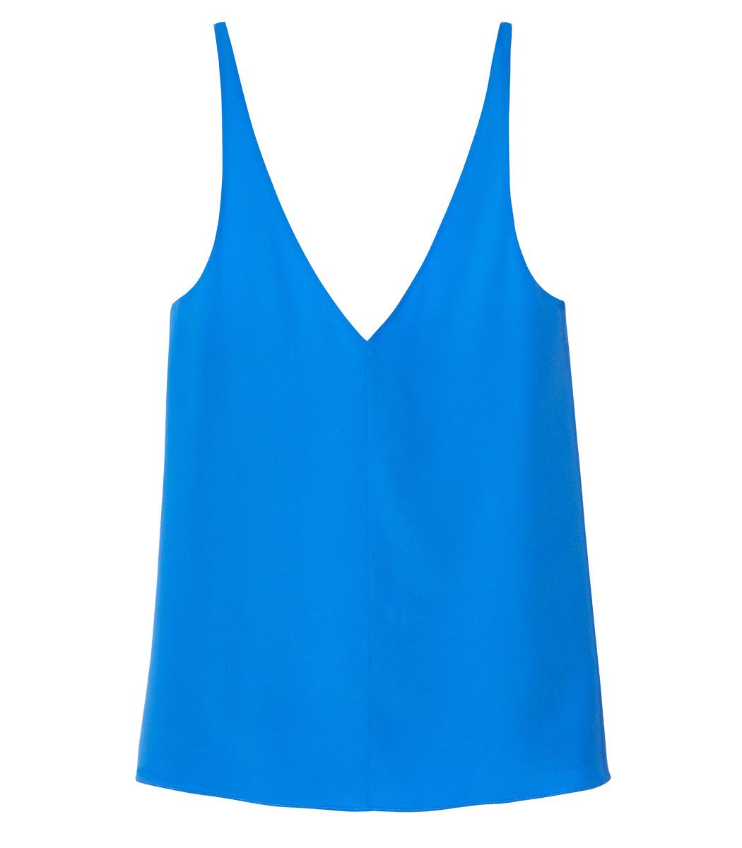 1f39a3f92fa8c3 TIBI BLUE SILK V-NECK CAMI
