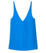 blue silk v-neck cami