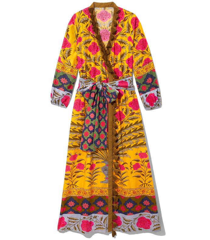 multicolor pink flower lena robe dress