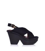 black criss-cros wedge sandal
