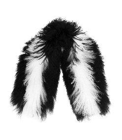 black & white candy stripe mongolian scarf