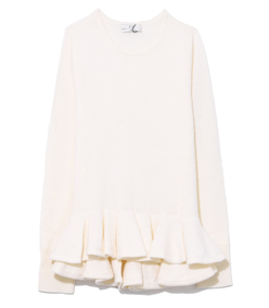 ivory ruffled hem sweater