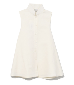 ivory sleeveless linen buttondown shirt