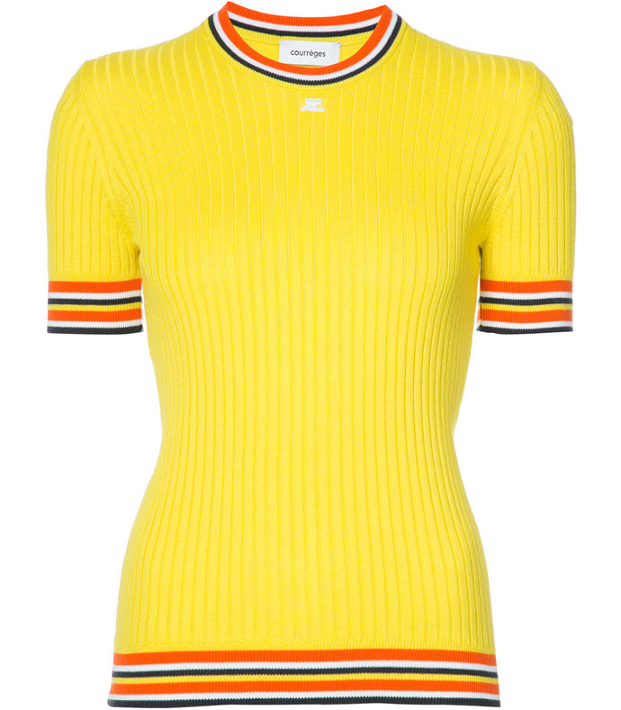 yellow short sleeve sweater with stripes