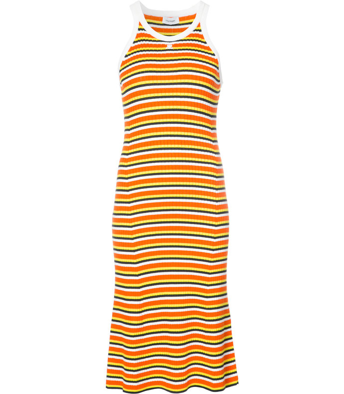 orange striped midi tank dress