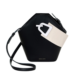 black bicolor johnny bucket bag