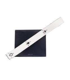 navy white mini strap zoe box clutch bag
