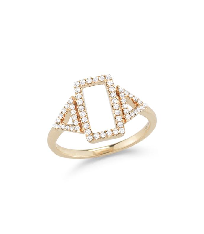 yellow-gold 'aria selene' diamond ring