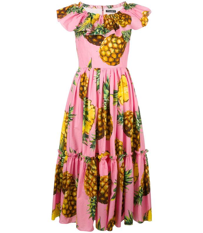 pink pineapple print dress