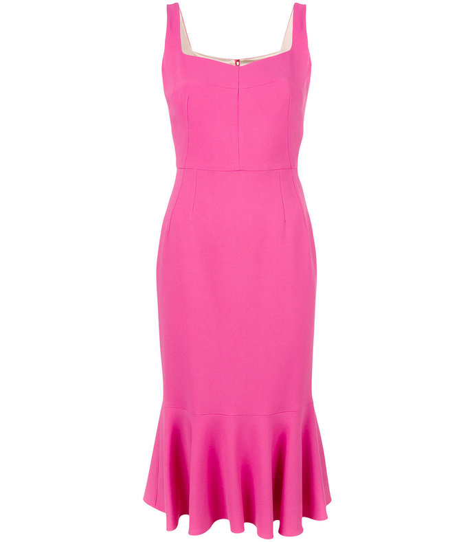 pink peplum hem midi dress