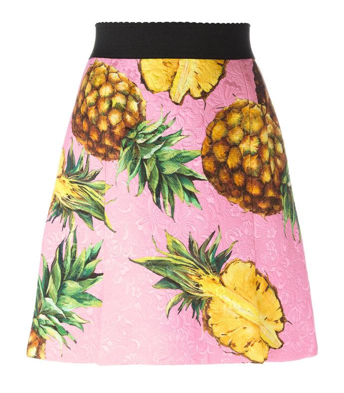 pink pineapple print brocade skirt