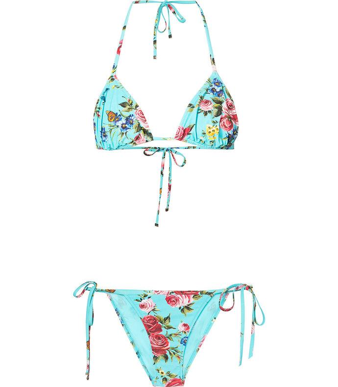 blue rose print bikini