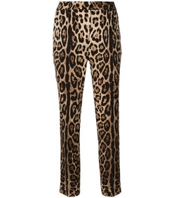leopard print stretch silk tapered trousers