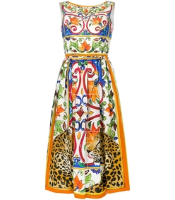 multicolor printed flared dress