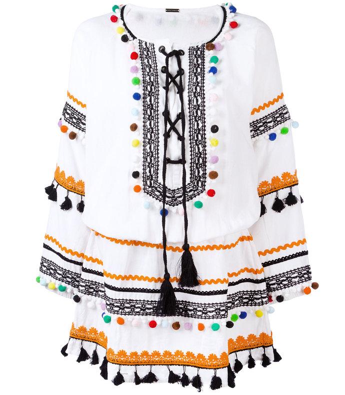 white pom pom dress