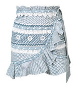 blue wrap mini skirt