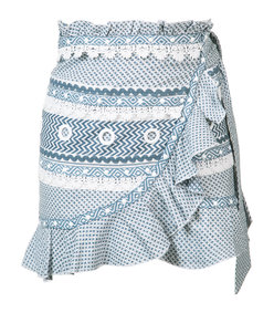 blue wrap mini skirt