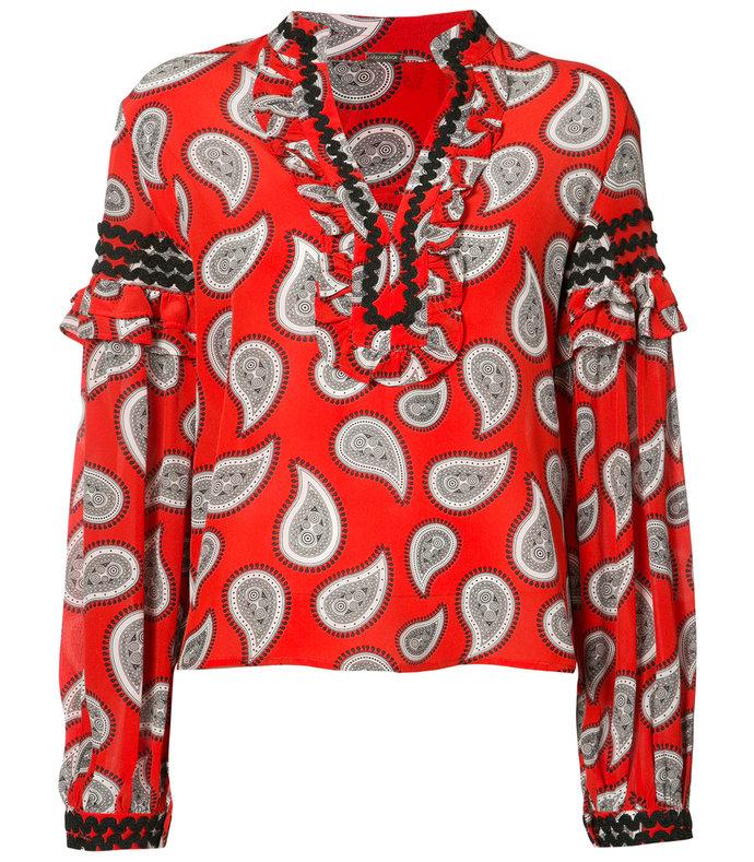 red paisley print boho blouse