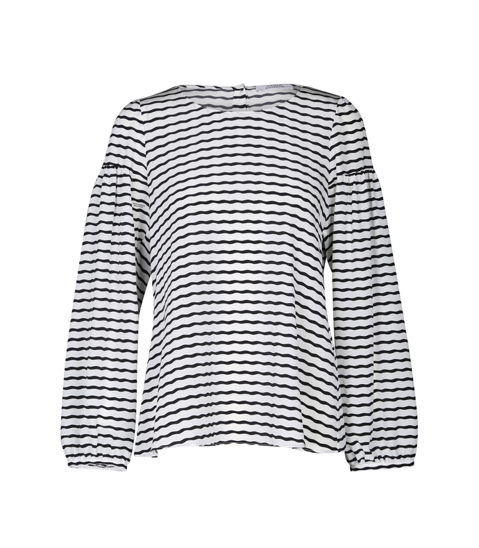 black & white curly stripe blouse
