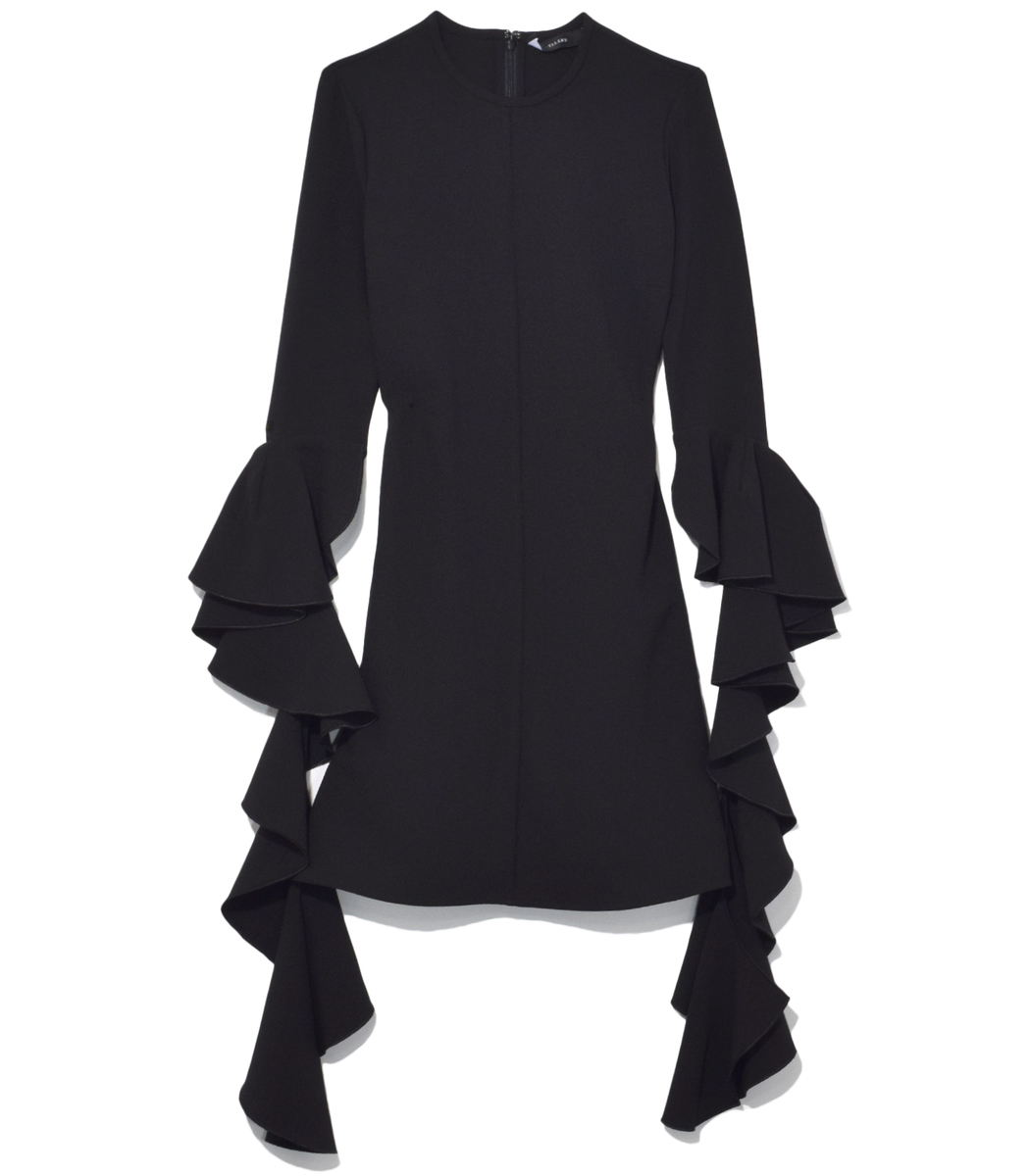 Kilkenny Deconstructed-Sleeve Crepe Dress, Black
