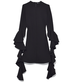 black kilkenny frill sleeve mini dress