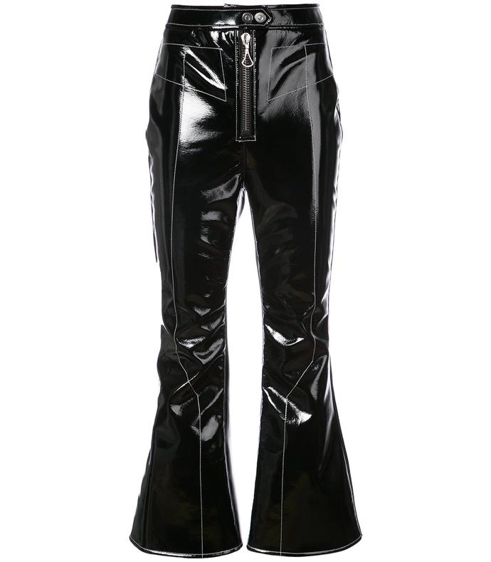 black vinyl kick flare pants