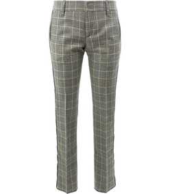 brown checked logo stripe pants