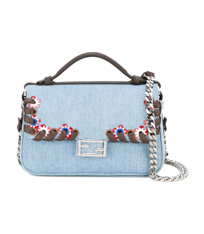mini baguette denim bag