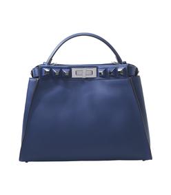 blue 'peekaboo' studded satchel bag