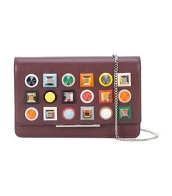 burgundy multicolor stud embellished crossbody bag