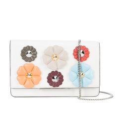 white multi floral patch crossbody bag