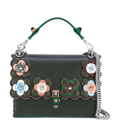 dark green embellished kan i shoulder bag