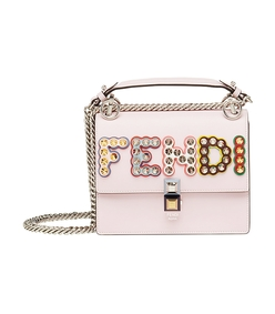pink multi embellished logo kan i bag