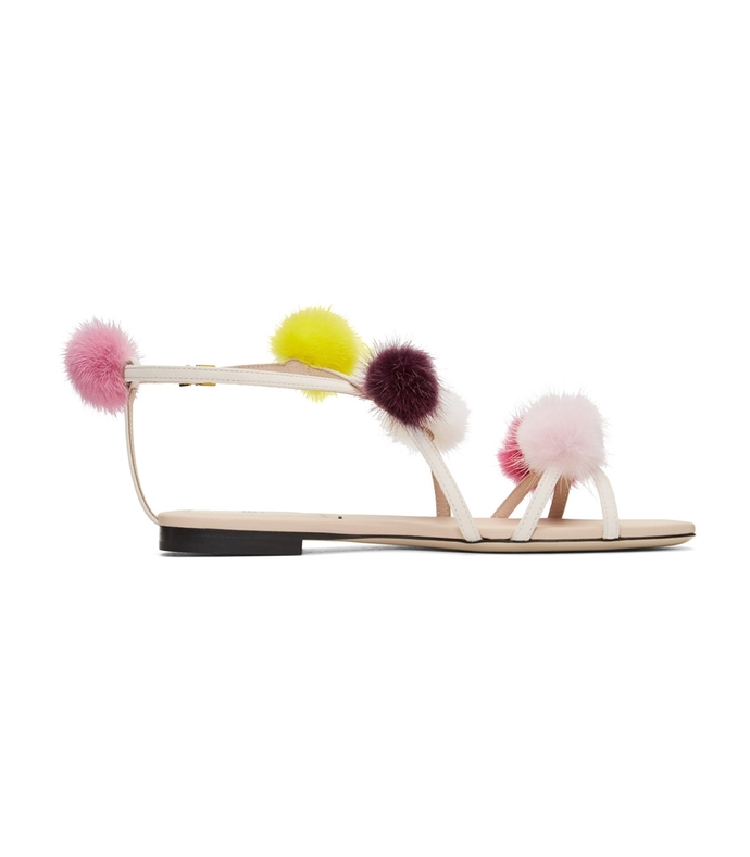 pom pom open toe strap sandal