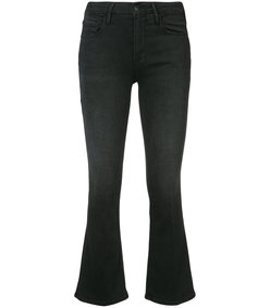 black le crop mini boot-cut jeans