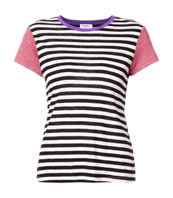 pink multicolor striped t shirt