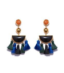 coral & black 'fiesta' earrings