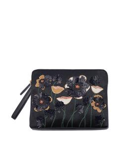 black raffia garden 'safari' clutch