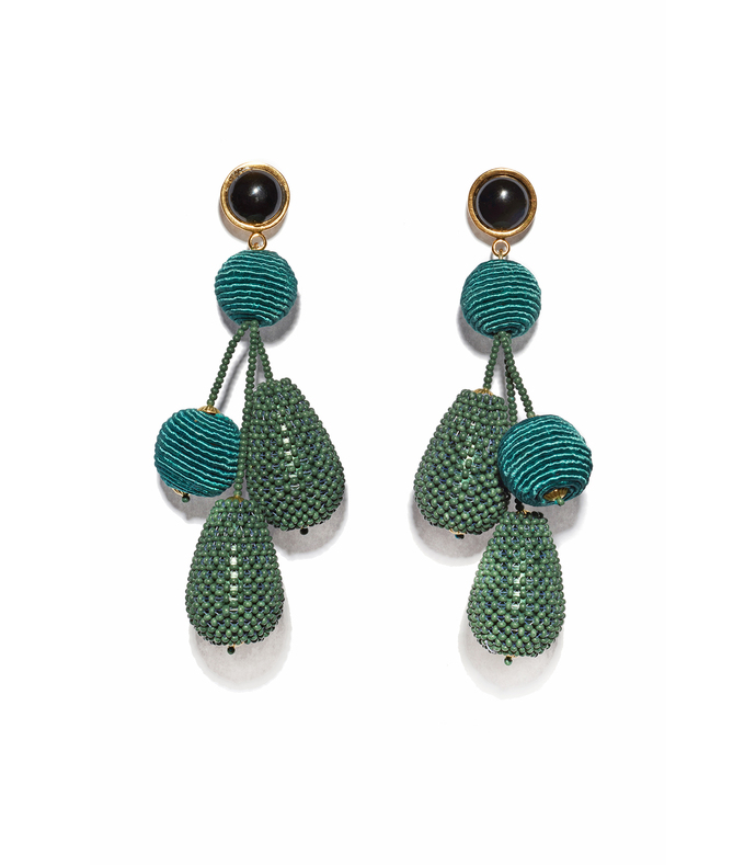 blue green meteor earrings