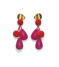meteor earrings in bright pink