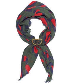dark green leopard spot brass slider scarf