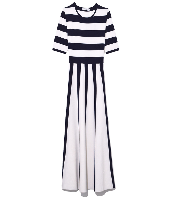 capote dress in navy/ivory