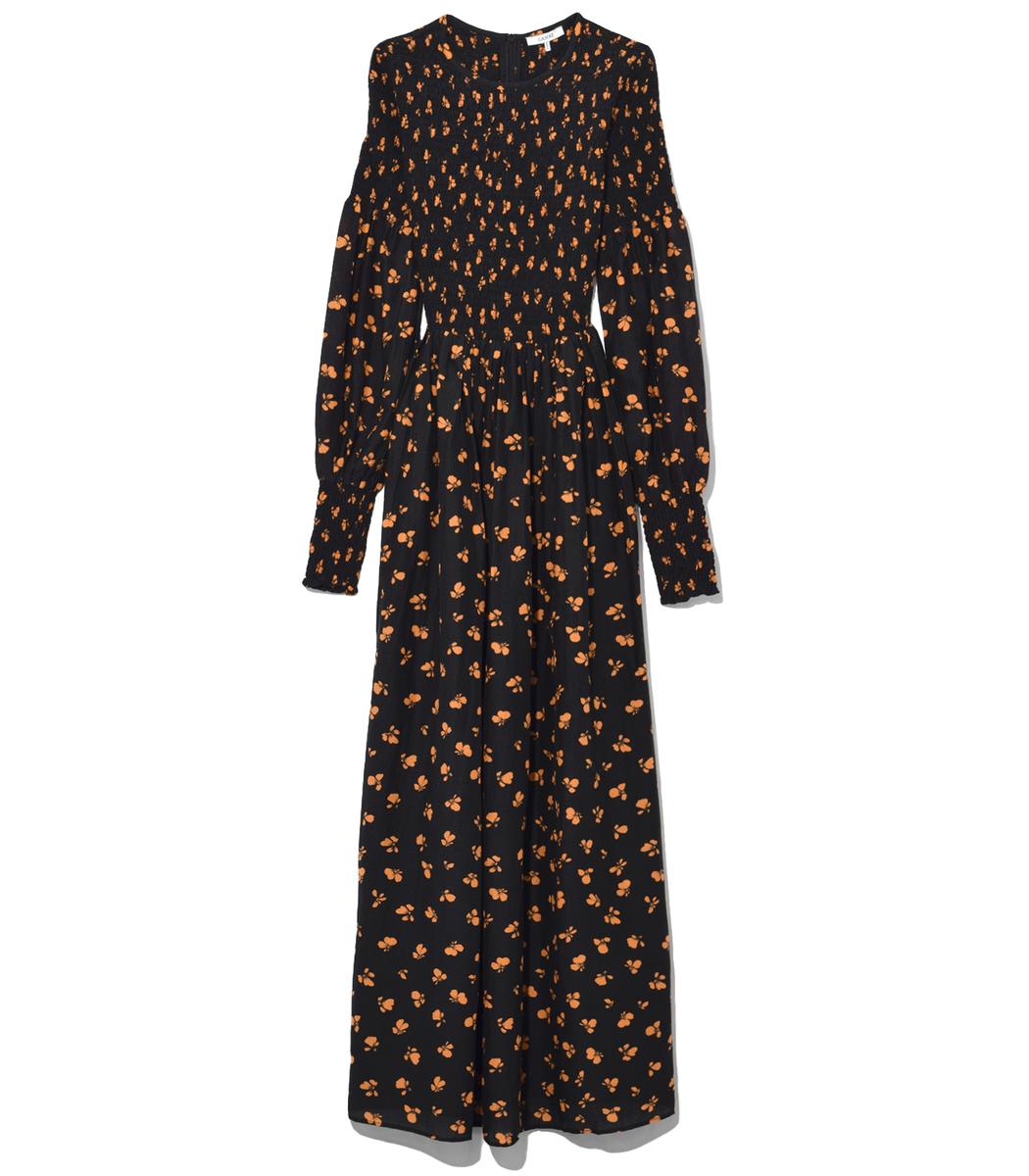 92248d83 Ganni Beacon Printed Smocked Maxi Dress In Black | ModeSens