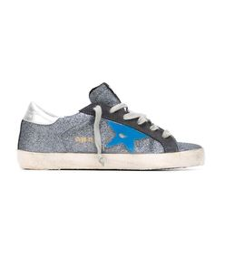 ShopBazaar Golden Goose Blue Glitter Sneaker MAIN