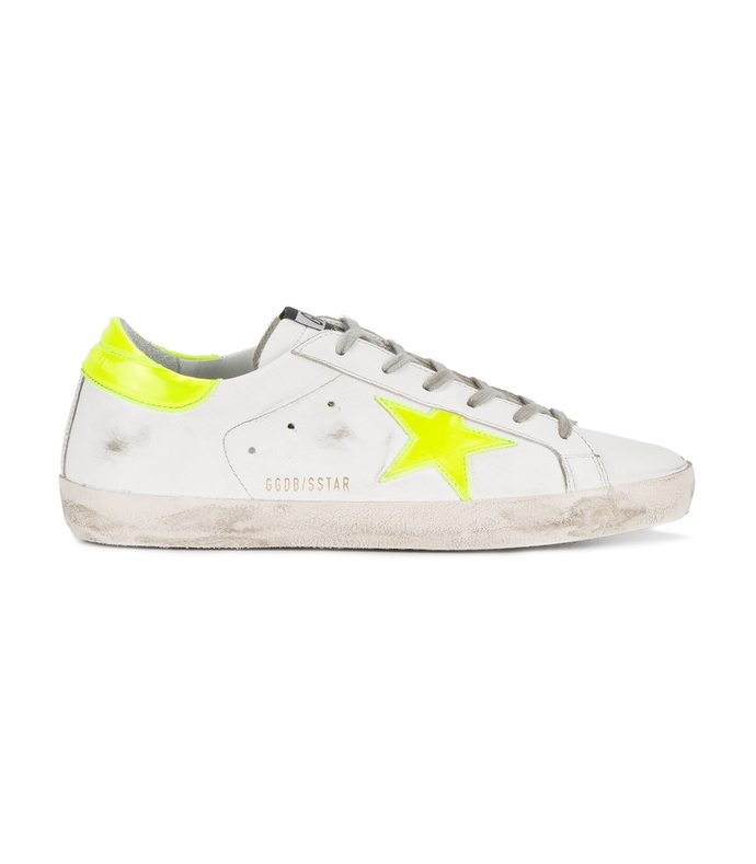 yellow & white superstar sneakers