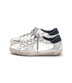 silver/blue superstar sneakers