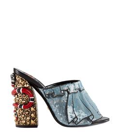 blue embellished block heel